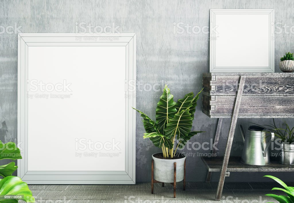 White or empty photo frames with plants, 3d illustration stock photo