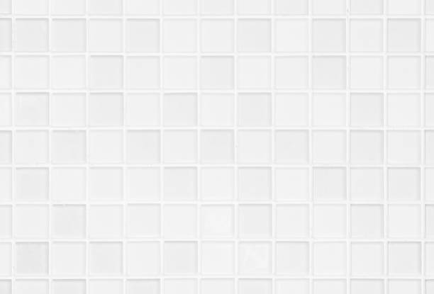 white or gray ceramic wall and floor tiles abstract background. design geometric mosaic texture for the decoration of the bedroom. simple seamless pattern for backdrop advertising banner poster or web - azulejo imagens e fotografias de stock