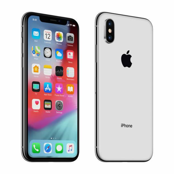Blanc ou argenté tourné Apple iPhone X avec iOS 12 sur l'écran - Photo