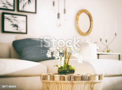 Picture of white orchid in cozy living room. Render image.