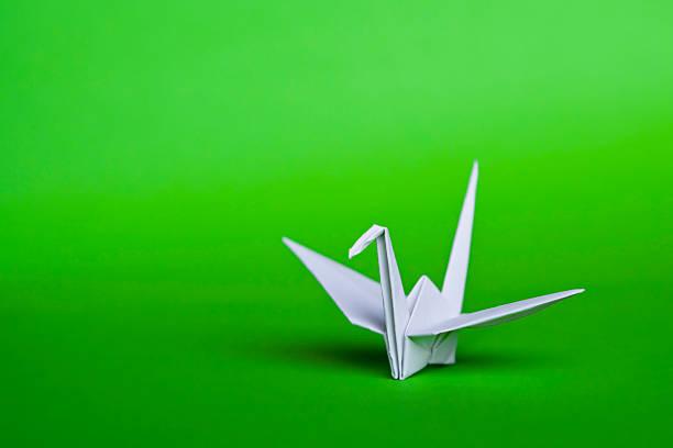 White origami bird stock photo