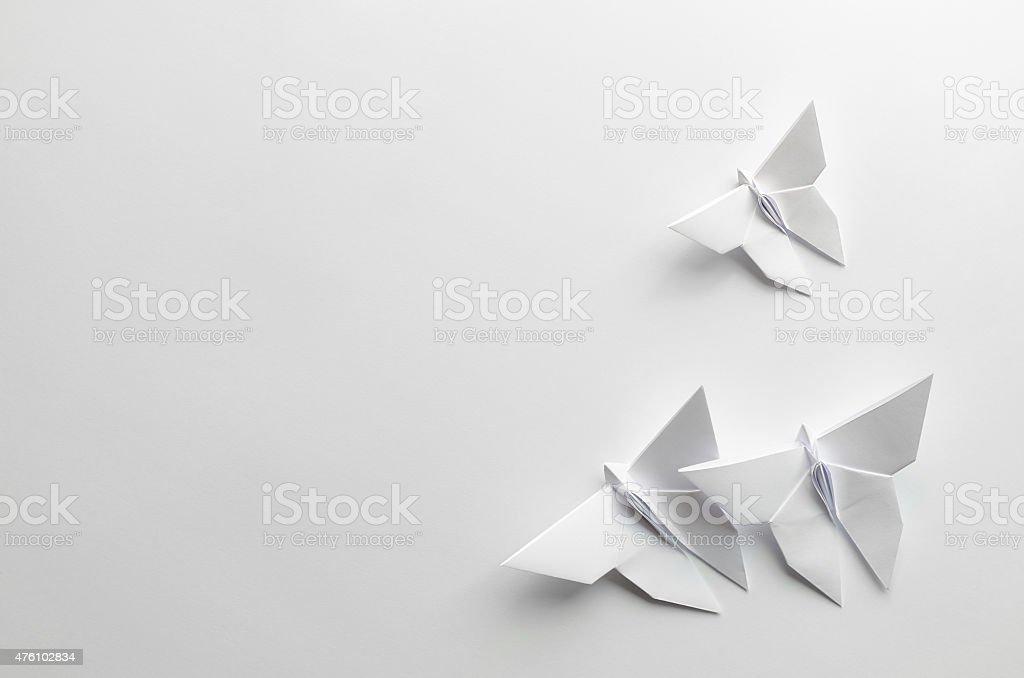 Weißer origami-Schmetterlinge auf weißem Hintergrund Lizenzfreies stock-foto