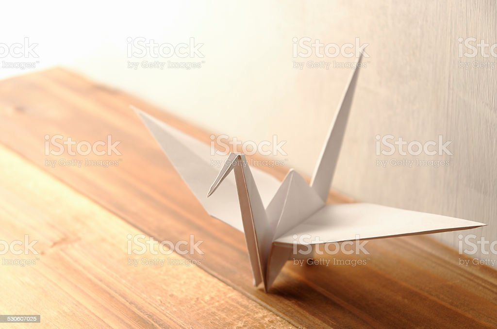 White Origami Crane stock photo