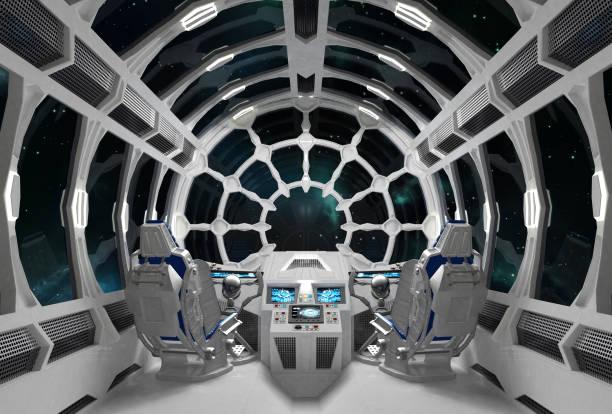 orion blanche. intérieur du vaisseau spatial avec des fenêtres en verre rond. - vaisseau spatial photos et images de collection