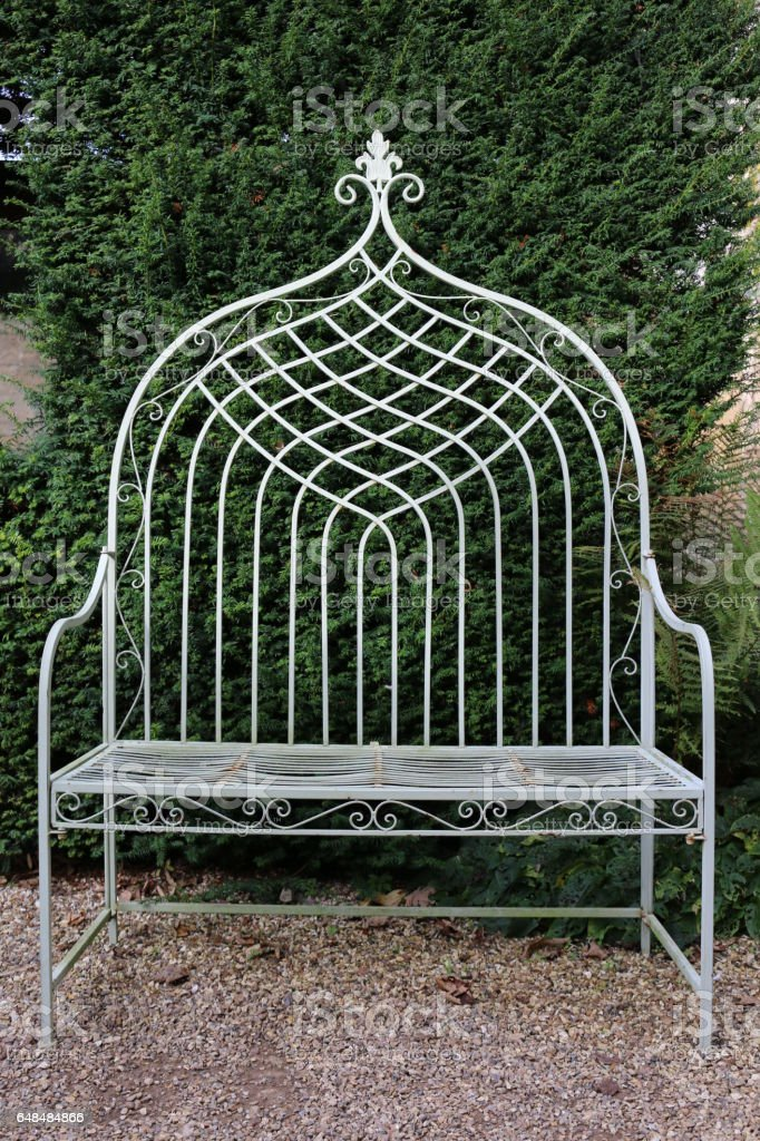 White Ornate Garden Bench stock photo