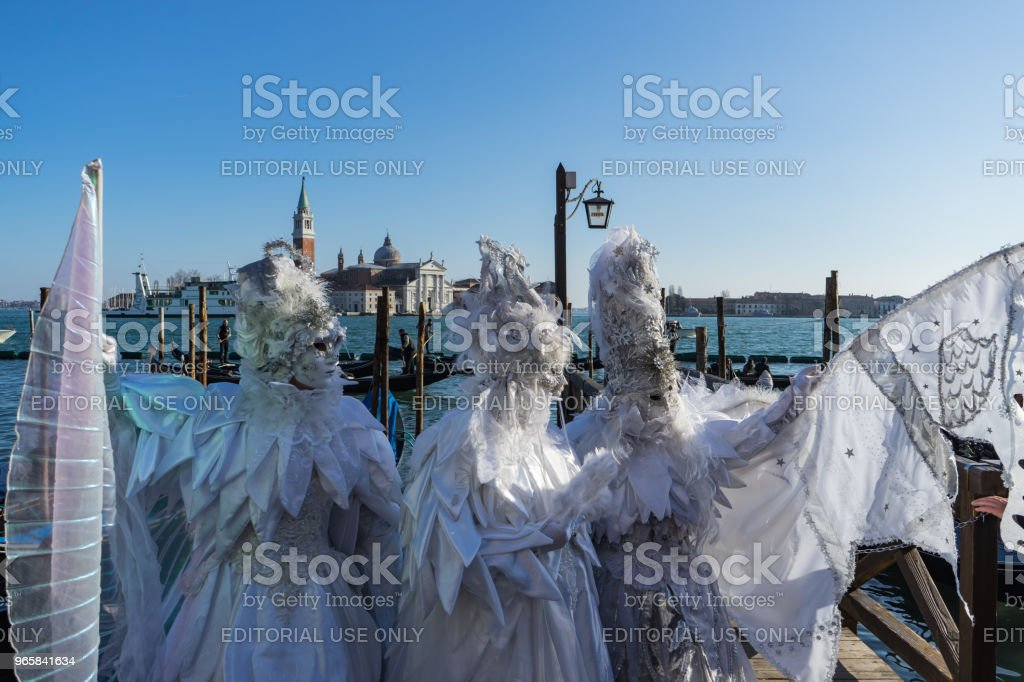 White ornated masks in Riva degli Schiavoni, Venice, Italy - Royalty-free Carnival - Celebration Event Stock Photo