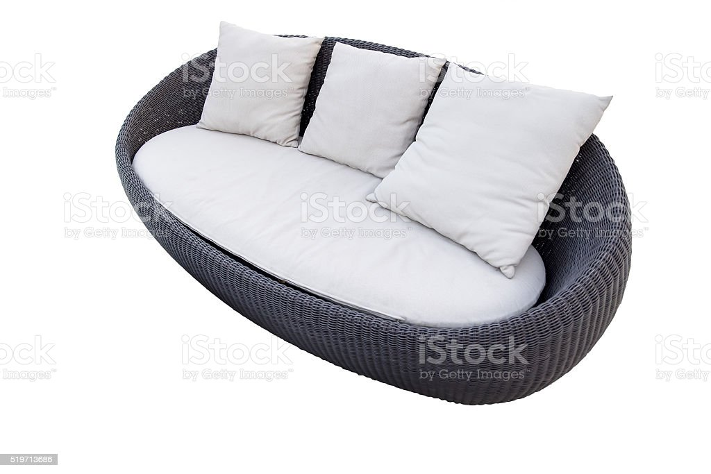 Weiße Gartenmöbel Rattan Sessel Runden Lizenzfreies Stock Foto