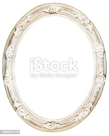 White Oval Baroque Frame Stock Photo More Pictures Of Antique Istock