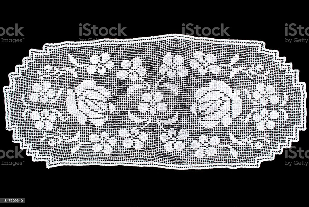 White Oval Lace Tablecloth Isolated On Black Background, Floral Pattern  Picture Royalty Free Stock