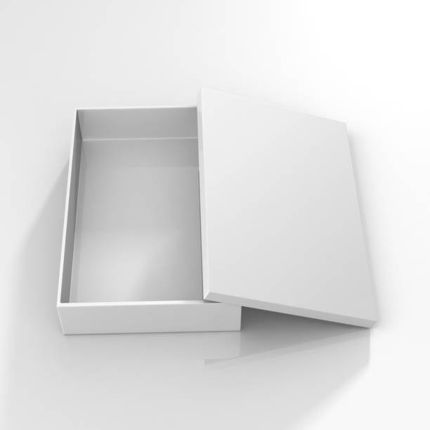 white packaging blank box Box - Container, Shape, Rectangular Shape, White Color, Three Dimensional, T-shirt Box shallow stock pictures, royalty-free photos & images