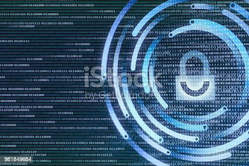 istock white padlock icon protected data privacy in internet environment. background on bainry code bit. 981849684
