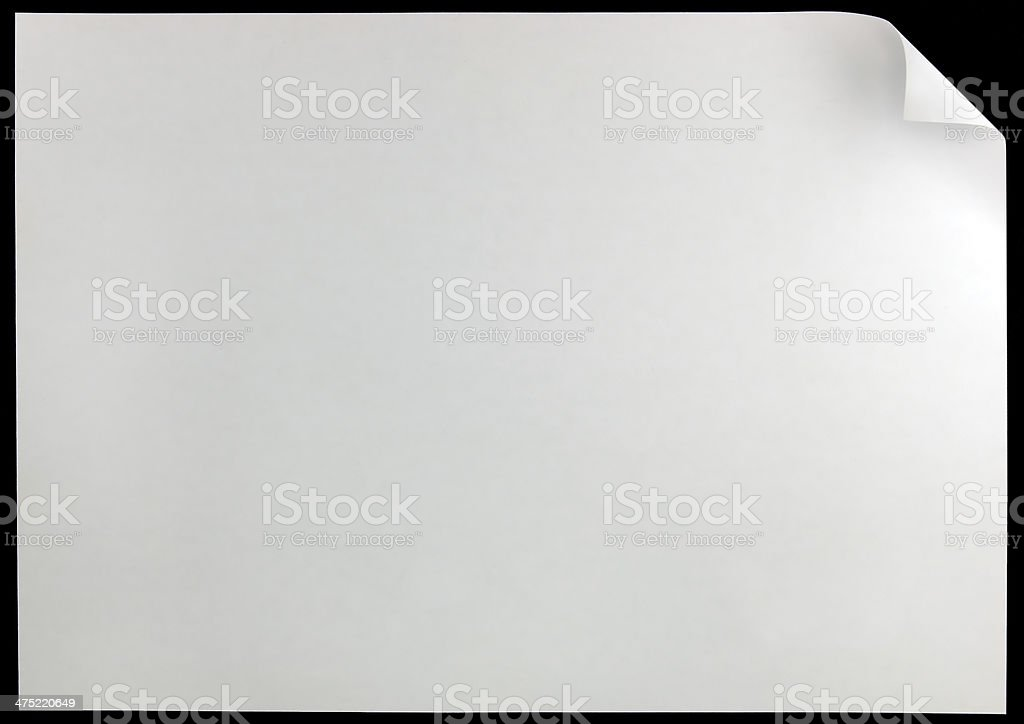 White Page Curl, black isolated horizontal large detailed copy space royalty-free stock photo