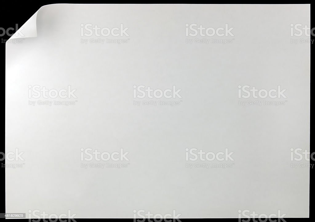 White Page Curl, isolated black, large horizontal copy space background royalty-free stock photo