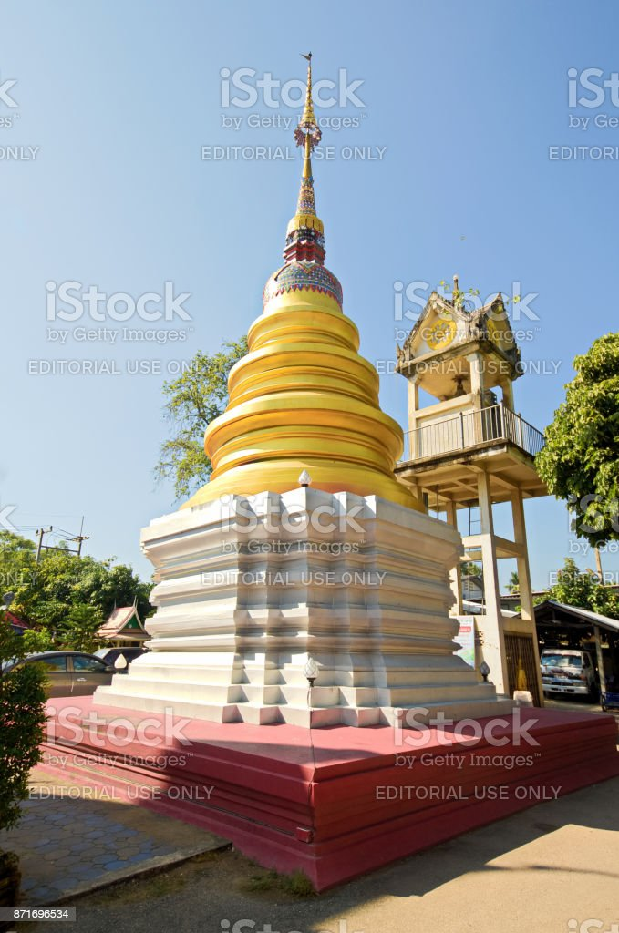 White pagoda at Wat Sai Moon Muang (Sai Moon Muang temple in thai language) stock photo