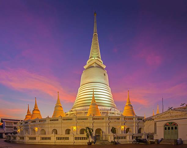 White pagoda in Wat-Prayoon Rawongsawas stock photo