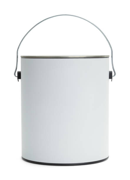 White Paint Bucket One Gallon Paint Bucket with Copy Space Isolated on White Background. gallon stock pictures, royalty-free photos & images