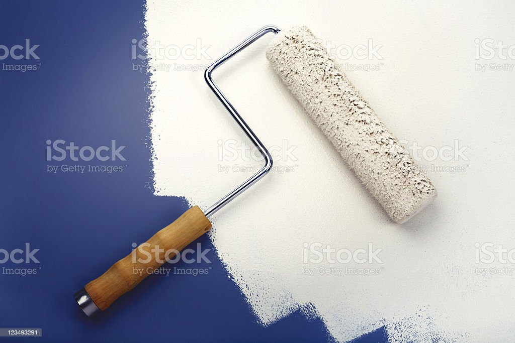 white paint roller royalty-free stock photo