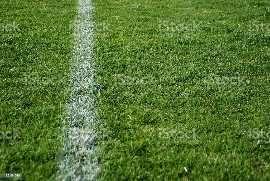 A white painted out of bounds line on a grass pitch stock photo