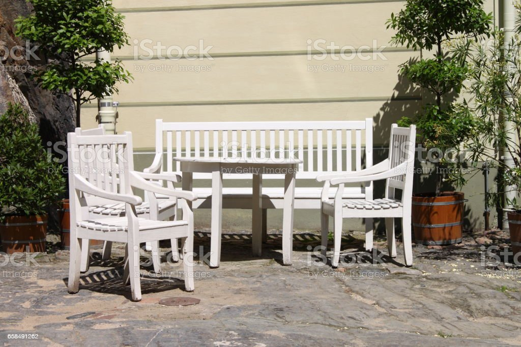 white painted wooden patio furniture outdoor stock photo download image now istock
