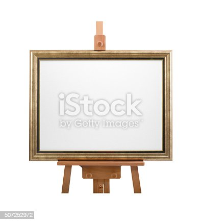 614417422 istock photo White painter canvas in frame. Wooden easel isolated on white 507252972