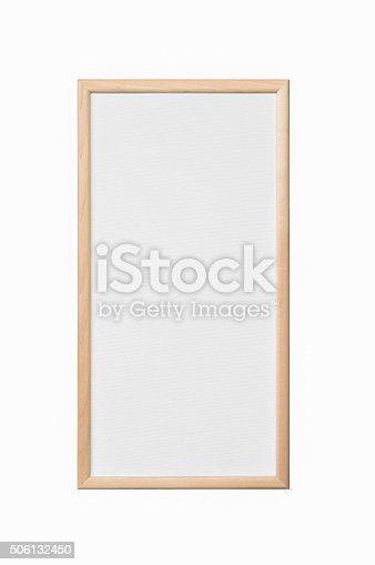 istock White painter canvas in wooden frame isolated on white-clipping path 506132450