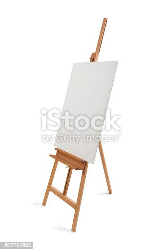 614417422 istock photo White painter canvas on wooden easel isolated on white 507261800