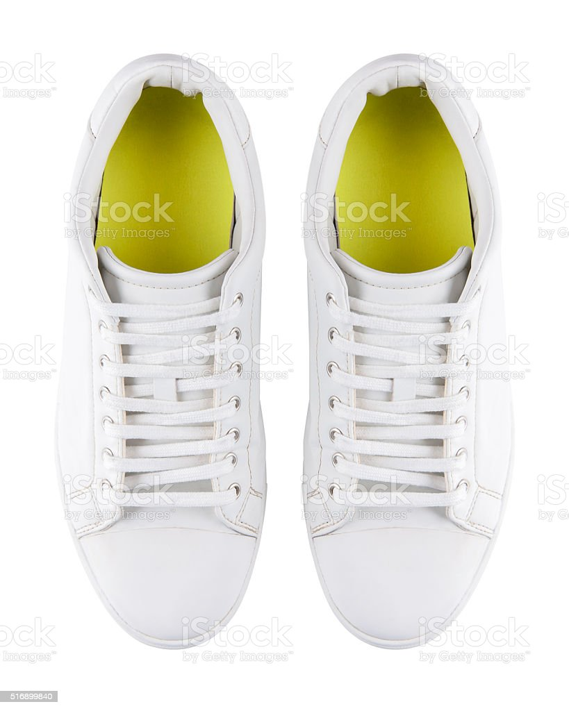 White pair of sneakers stock photo