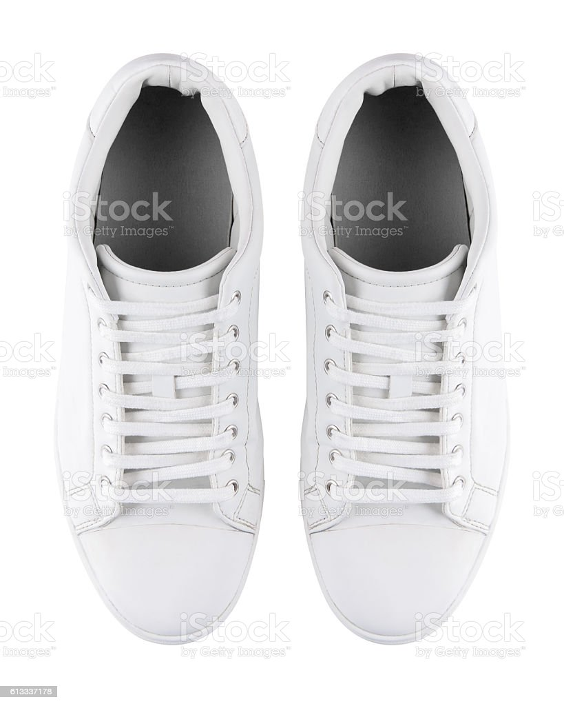White pair of sneakers with clipping path stock photo