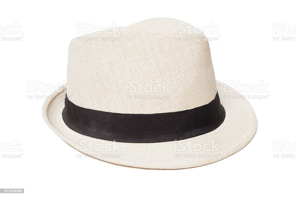 White panama hat isolated on white stock photo