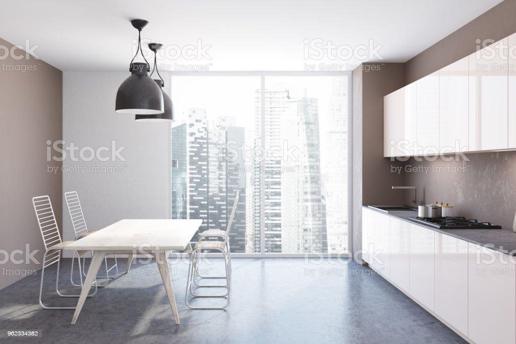 Weiße Panorama Innenraum Küchentisch Stockfoto und mehr ...