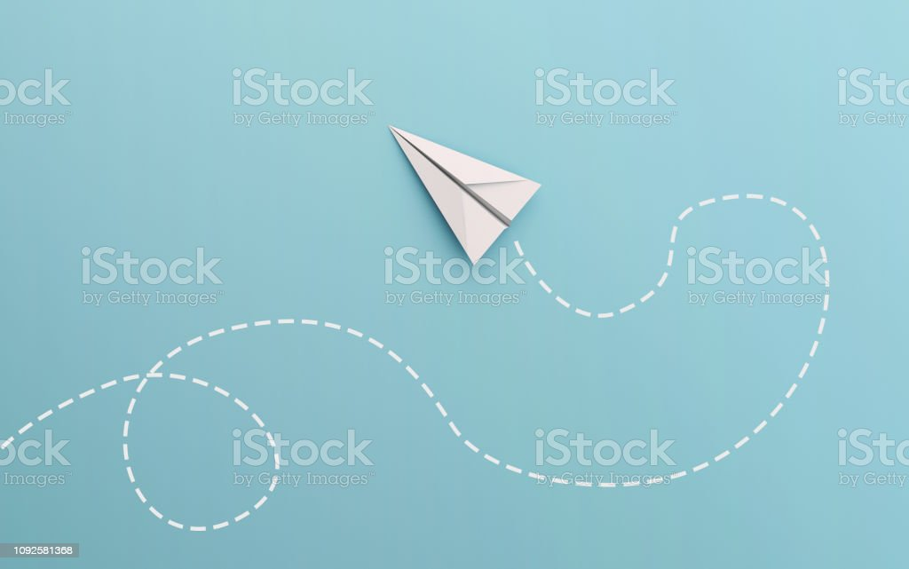 White paper airplane path and route line isolated on blue background...
