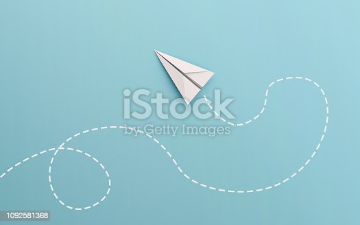 White paper airplane path and route line isolated on blue background in education or travel concept. Mock up design. 3d abstract illustration