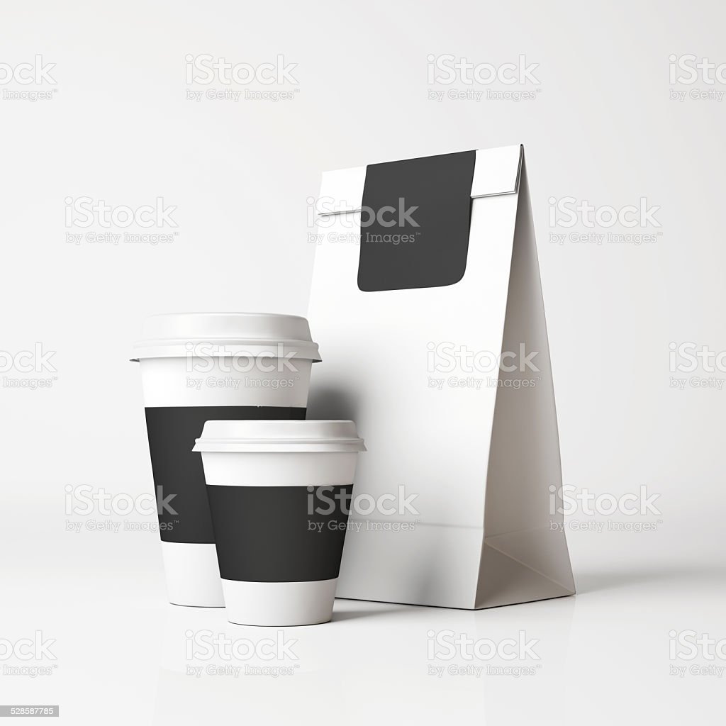 White paper bag and cups stock photo
