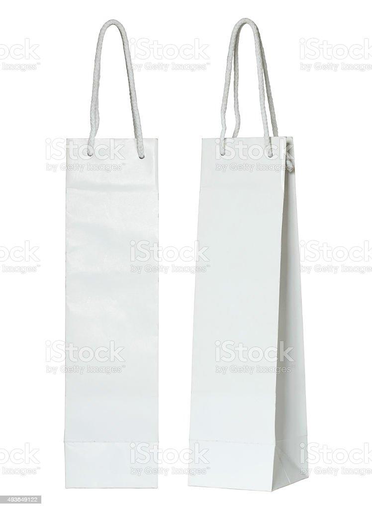 white paper bag for wine bottles stok fotoğrafı