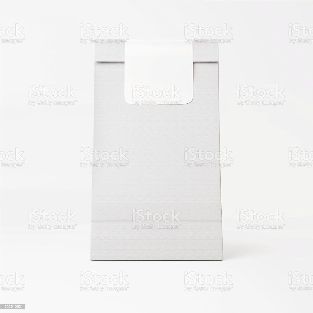 White paper bag with white sticker stock photo