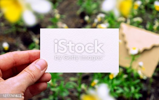 White paper business card in hand. Mockup with flowers and craft envelope in forest. Nature concepts. Wedding invitation template. Spring greeting card. Corporate card template. Hand holding card. High quality photo