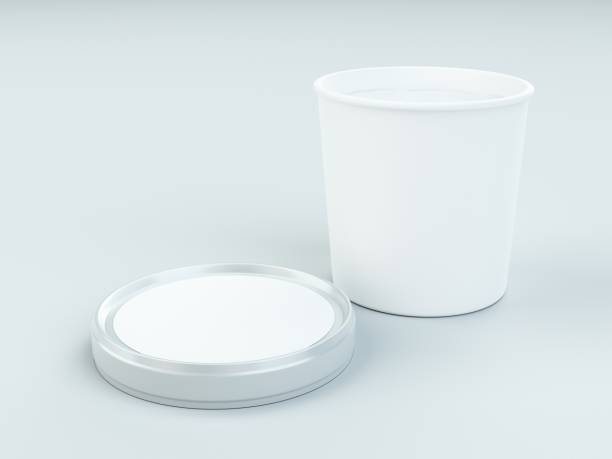 white paper canister with silver lid for ice cream and yogurt mockup - gelato confezionato foto e immagini stock