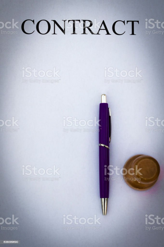 White paper contract stock photo