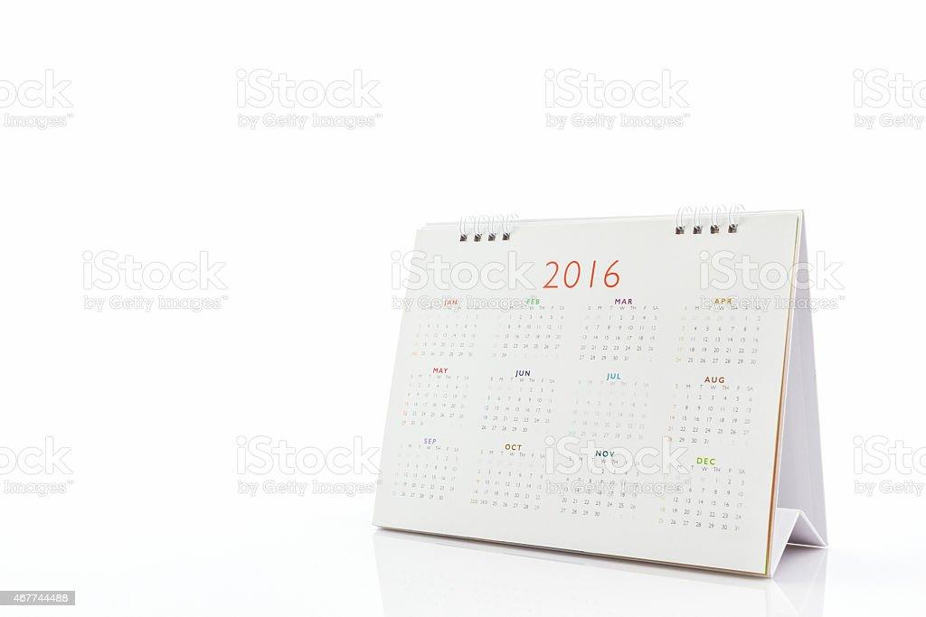 White paper desk spiral calendar 2016. stock photo