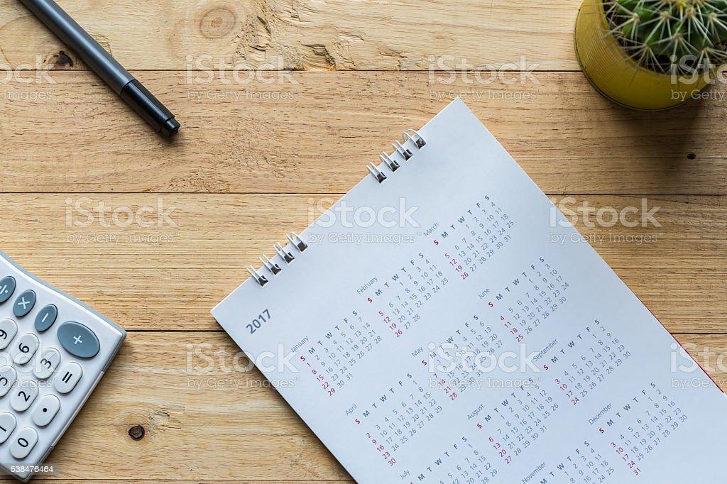 White paper desk spiral calendar 2017. stock photo