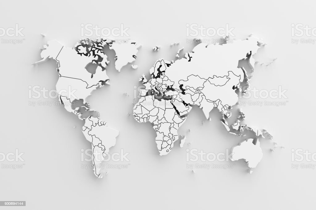 White paper earth 3d map. stock photo