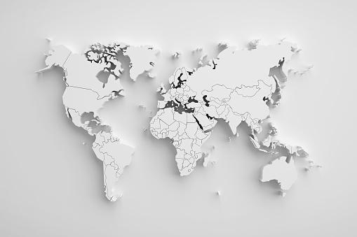 istock White paper earth 3d map. 941468562