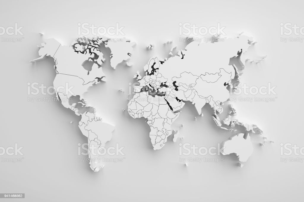 White paper earth 3d map. - foto stock
