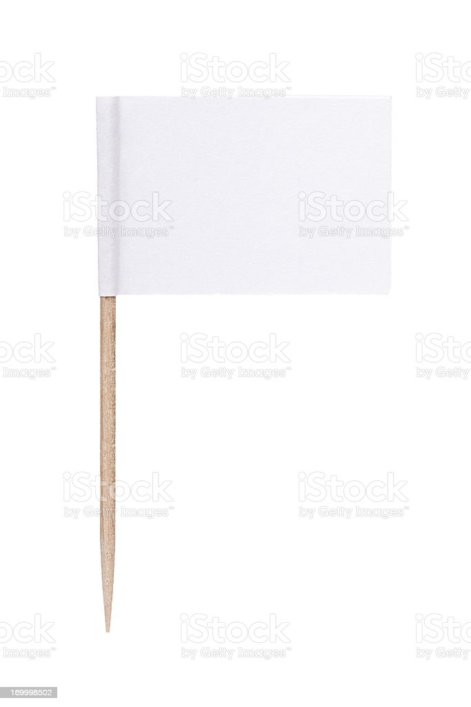 White paper flag with toothpick pole - Royalty-free Afbeelding Stockfoto