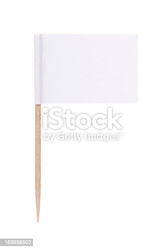 White paper toothpick flag. Nice paper texture. Isolated on white.