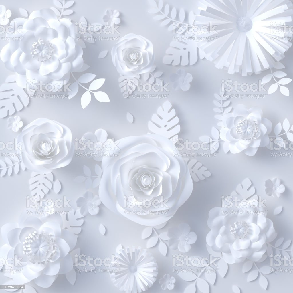 White Paper Floral Background Artificial Papercraft Flowers Pattern