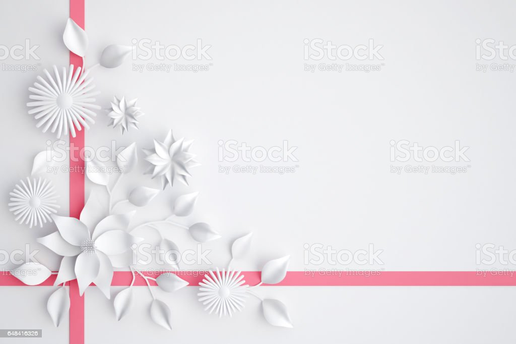 White Paper Flowers Background Wedding Decoration Greeting Card 3d
