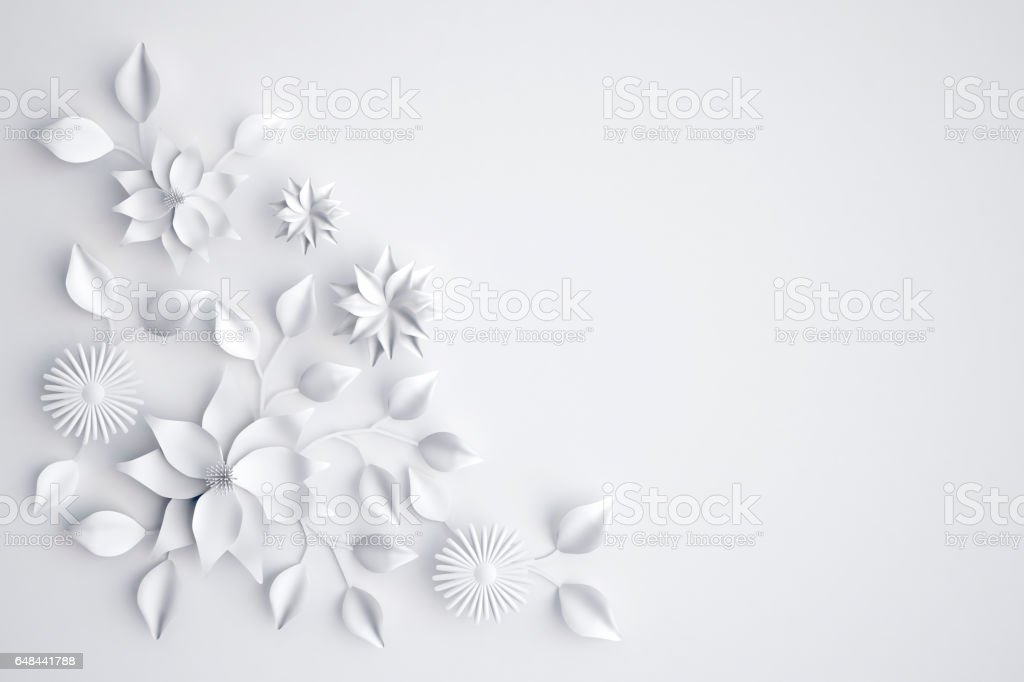 White paper flowers background wedding decoration greeting card 3d white paper flowers background wedding decoration greeting card 3d illustration royalty free mightylinksfo