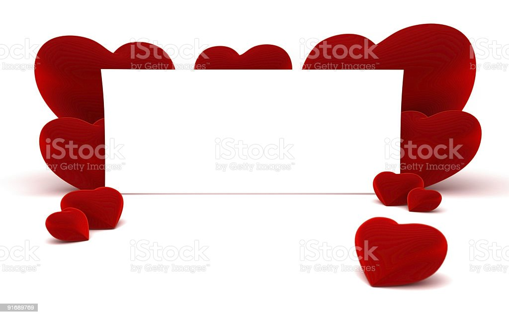 White paper for message and red heart shapes royalty-free stock photo