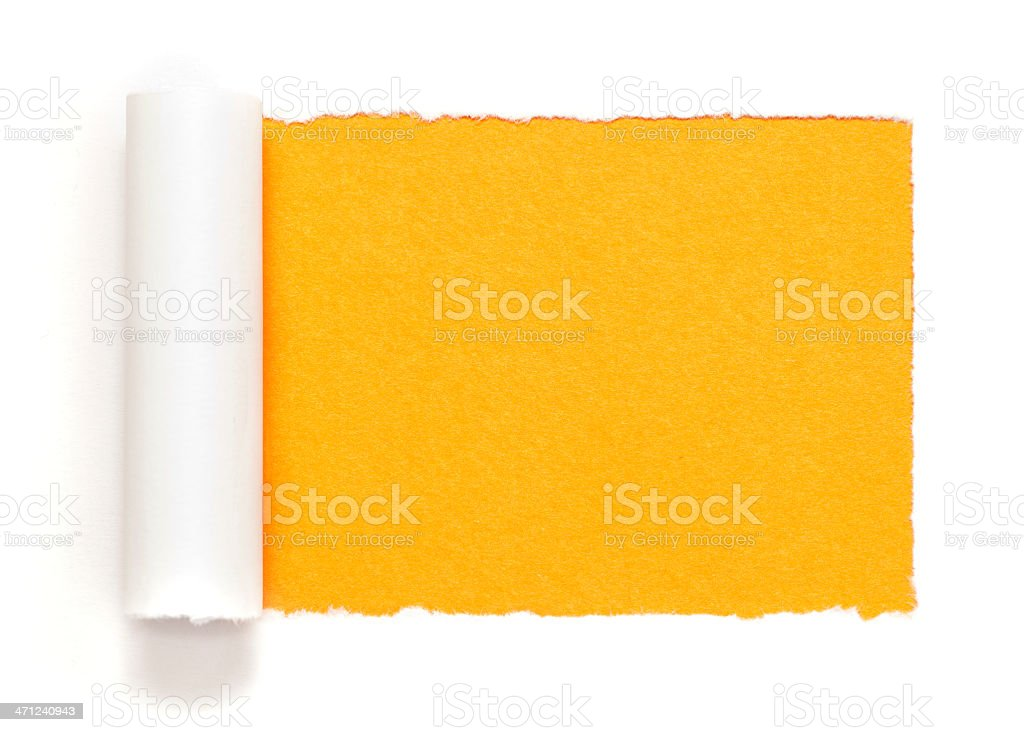 White paper frame on yellow background royalty-free stock photo